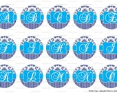 """Complete Alphabet Blue and White Damask Fancy Letters Images Digital Download for 1"""" Bottle Caps (4x6)"""