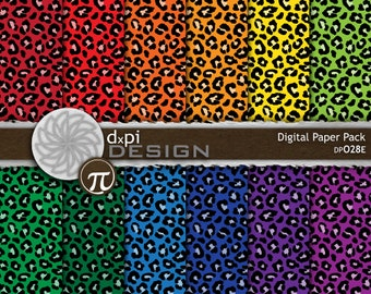 digital animal print paper rainbow color leopard prints printable scrapbook paper in primary colors instant download dp028e - Animal Pictures Print Color