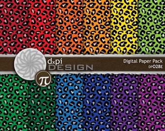 digital animal print paper rainbow color leopard prints printable scrapbook paper in primary colors instant download dp028e