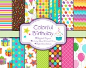 Colorful Birthday - Digital paper set
