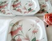 SALE 40% OFF Mikasa Plates, Dinnerware, Silk Flowers, Vintage China, Porcelain, Floral Dessert Plates, Japanese, Tabletop Wedding Gifts