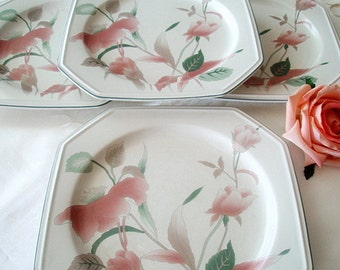 SALE 40% OFF Mikasa Plates, Dinnerware, Silk Flowers, Vintage China, Porcelain, Floral Dessert Plates, Japanese, Tabletop Wedding Gifts