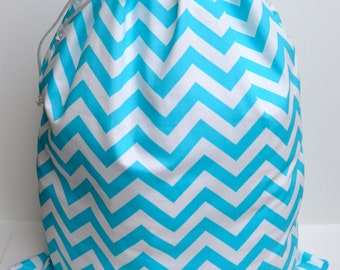 Large Aqua Blue Chevron  Laundry Bag Tote College Dorm Summer Camp Duffle Bag with Shoulder Strap Monogrammed