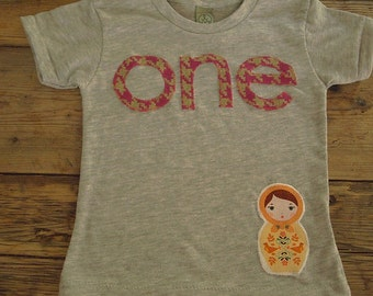 Matroyshka Doll Shirt Girls Birthday Shirt Organic Blend Tee Russian Doll first birthday shirt