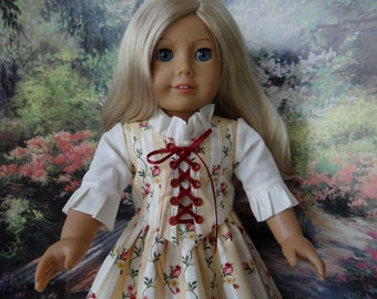 1700s Colonial style two piece gown for American Girl or similar 18 inch doll.