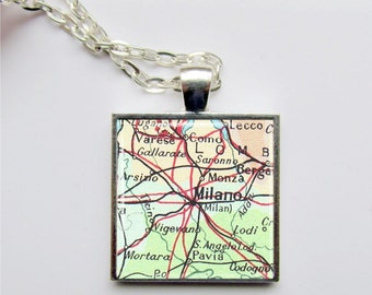 Vintage Map Pendant, Customized Map Necklace, Any Map, Map Jewelry