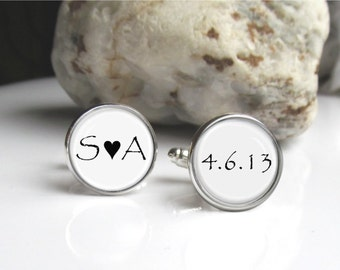 Personalized Wedding Cufflinks, Groom Cufflinks, Custom Bride And Groom Initials