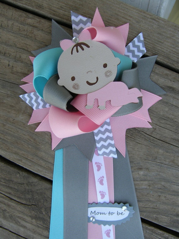 baby girl baby shower corsage baby shower pin by bonbow on etsy