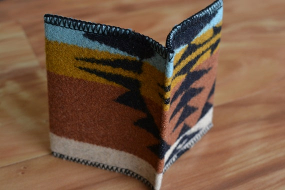 Wool WALLET - casual mens or womens - front or back pocket - card case - Native American black turquoise print wool