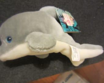 Vintage 1993 Marine World Africa USA Plush Dolphin Toy w/ tags plush theme park souvenir kitschy cute