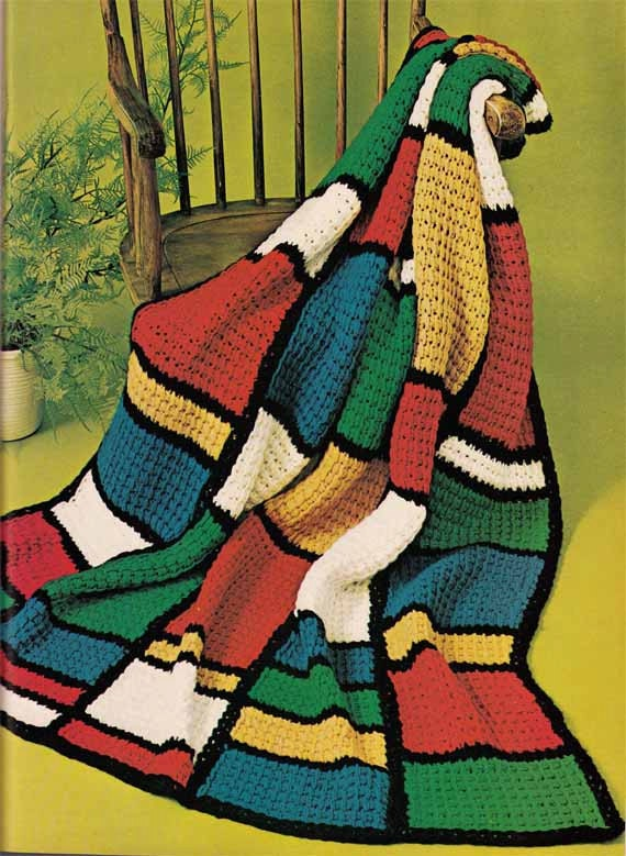 Vintage 1960s TUNISIAN CROCHET PATTERN -Color Block Afghan / Blanket / Throw Mondrian style, Instant Download Pdf from GrannyTakesATrip 0196
