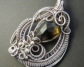 Reserved For J Bate - AAA Lemon Smokey Quartz Sterling Silver Paisley Necklace