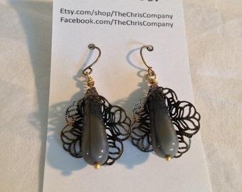 Antique Brass Drop Earrings