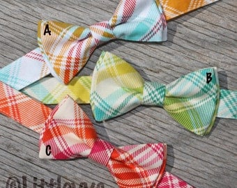 Rainbow Plaid Tie -- Green Yellow Plaid Tie -- Plaid Ties for Boys -- Preppy Ties for Boys -- Summer Photo Prop