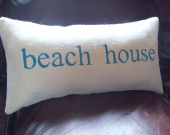 beach house Burlap Decorative Pillow Cover 12 x 24 or 16 x 24 - Beach Pillow Cover - Beach Cottage Pillow Cover - Burlap Pillow Cover