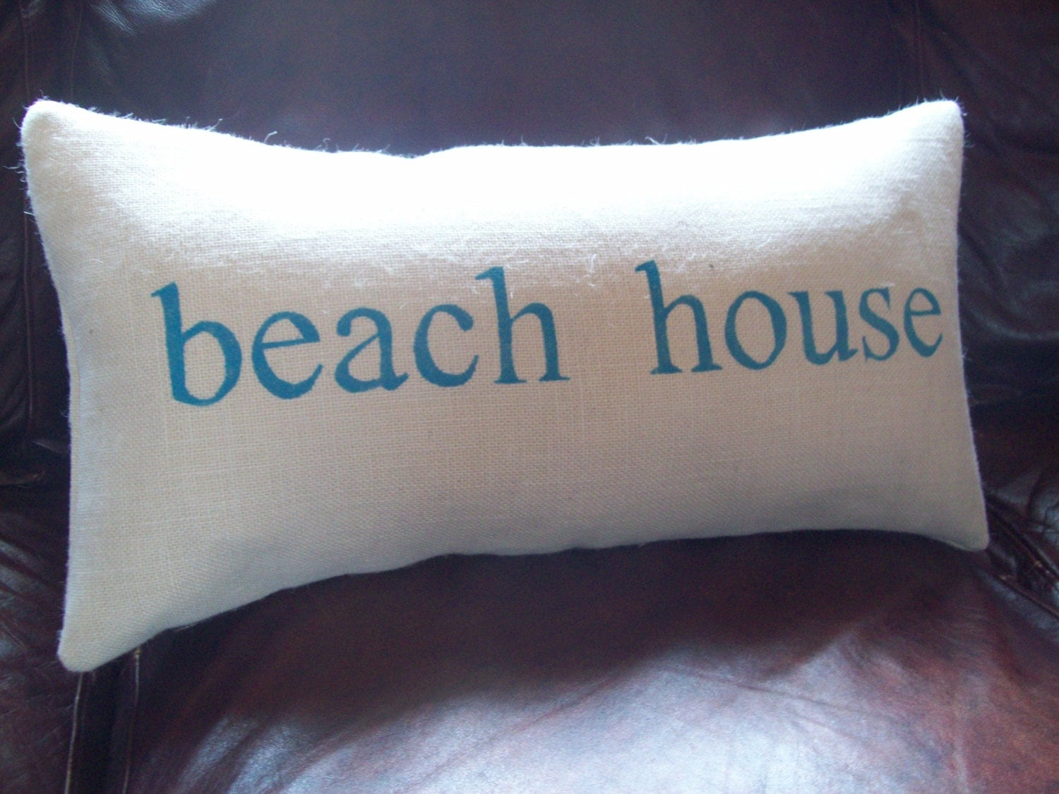 beach house Burlap Decorative Pillow Cover 12 x 24 or 16 x 24