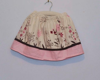 Pink and Brown Skirt... flowers...12m,18m,2t,3t,4t... eco-friendly, upcycled
