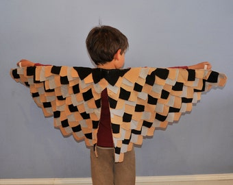 Child Owl Wings Costume, bird wings... tan, gray, black...eco-friendly