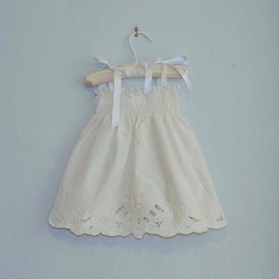Baby Girl White Dress... White Embroidered Cutout Flowers, Eco-friendly, 3m,6m,9m,12m,18m,2t