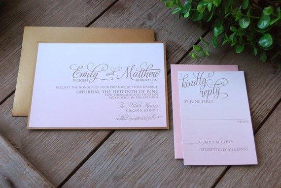 Ombre Wedding Invitation: Wedding Invitation Soft Pink Ombre With Gold