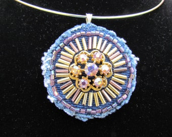 Pendant - Medallion Necklace with Vintage Earring - Hand Beaded - Recycled Denim Upcycled Leather Backed with  Neckwire
