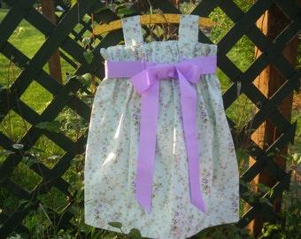 Girls lavender and soft mint green, ribbon bow dress,