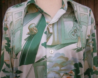 Vintage 70s mens silky polyester disco shirt picture shirt m made in usa mcgregor
