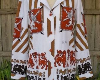 vintage 70s secretary disco shirt sears lion crest coat of arms polyester shirt b38 12 designer pants suit shirt