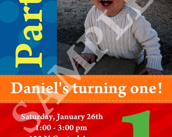 Custom Boy's Birthday Photo Invitation, all colors can be changed