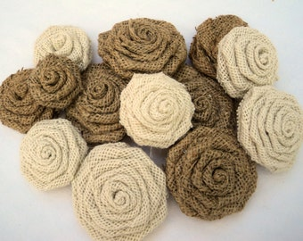 Rustic Wedding Natural and Ivory Burlap Flowers 15  Burlap Roses
