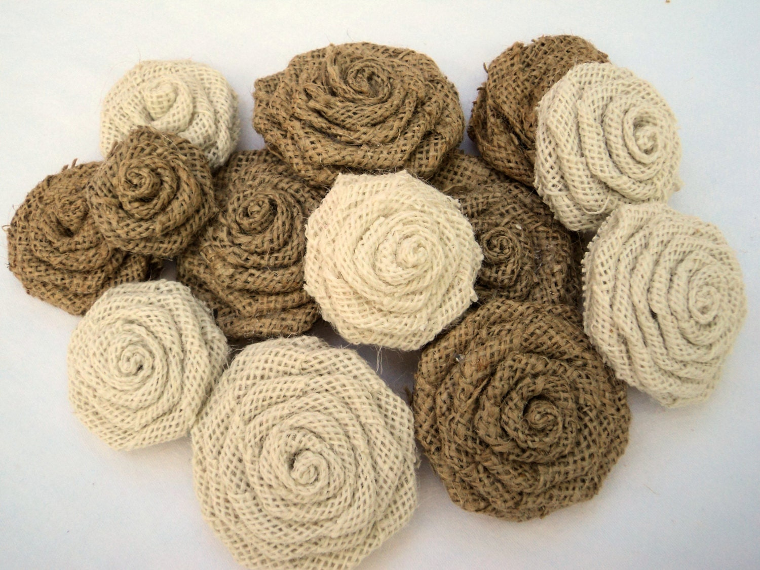 Rustic Wedding Natural and Ivory Burlap Flowers 15 Burlap