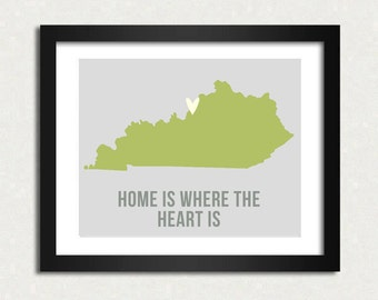 Kentucky Home is 10 x 8 inch Travel Map I heart USA SALE buy 2 get 3