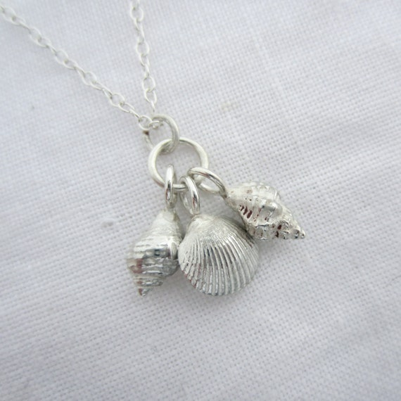 Solid Silver Handmade Three Shells Necklace