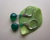 Emerald Green Onyx Earrings, Spring Green Jewelry