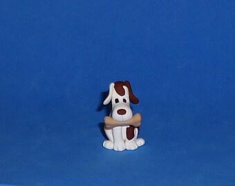 Polymer Clay Dog with Bone