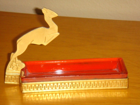 Art Deco Brass Leaping Deer Gazelle with Glass Pin Tray Dresser Dish Trinket Dish