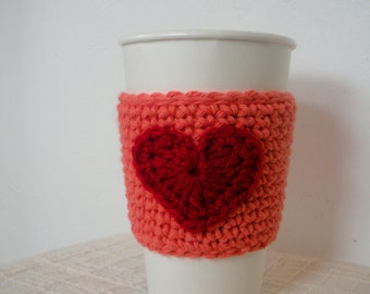 SALE Coffee Cup Sleeve Valentines Day Crochet Cup Sleeve in Coral and Red
