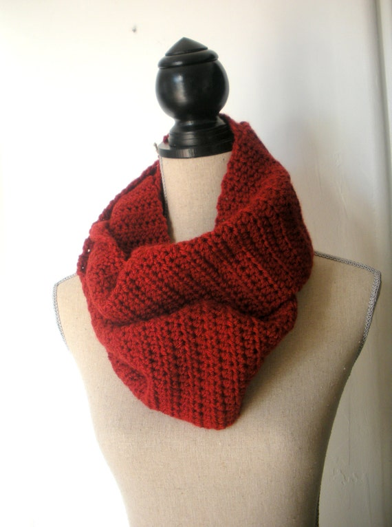 Red Crochet Infinity Scarf Cowl Rust Red Fall Winter Fashion Accessory