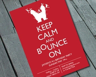 BOUNCE PARTY Kid's Birthday Invitation: Digital printable file/Printing Available Upon Request