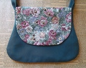 Upcycled floral and teal bag with rounded studs - Clearance sale