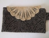 Upcycled clutch with vintage doily flap - Clearance sale
