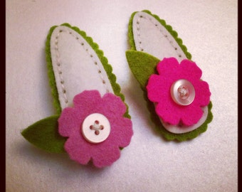Flower Button Felt Barrette