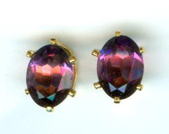 2 CT Genuine Amethyst Stud Earrings 8MM x 6MM