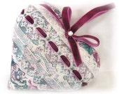 Sachet Heart, Cottage Chic, Violet and Green Floral, with Lavender Buds, Prim Primitive Cloth Handmade CharlotteStyle Decorative Folk Art