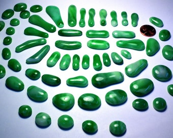 Green Glass Kiln Formed Mosaic Tiles 64 Pieces (502)