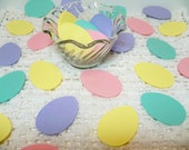 Easter Egg die cuts Cardstock Eggs 60 pieces name tags party favors cupcake toppers scrapbooking card making lavender green pink yellow