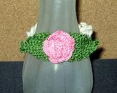 Last Rose of Summer SALE, Crocheted Pink Rose Bracelet, 7-1/4 Inches