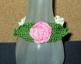 Last Rose of Summer SALE, Crocheted Pink Rose Bracelet, 7-1/4 Inches