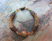 Copper wire Viking Weave vintage style bracelet with blood jasper and crystals