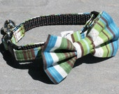 Cat Collar - Aqua Green Stripes - Matching Bow Tie and Flower Available